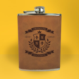 Premium Alcohol Seal Of Approval Engraved Hip Flask - Brown