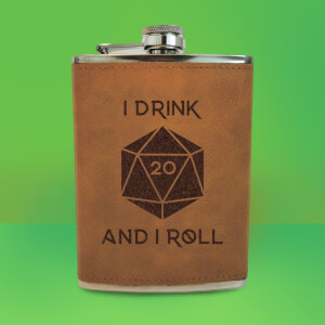 I Drink And I Roll D20 Engraved Hip Flask - Brown