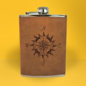 Vintage Compass Engraved Hip Flask - Brown