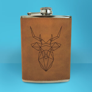 Geometric Stag Head Engraved Hip Flask - Brown