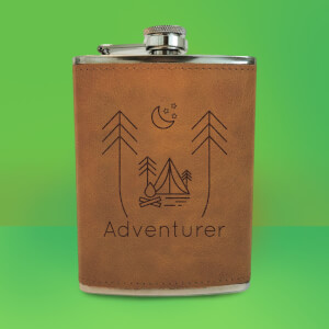 Night Time Campsite Adventurer Engraved Hip Flask - Brown