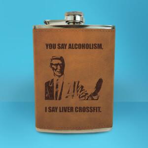 Correction Guy Meme You Say Alcoholism Engraved Hip Flask - Brown