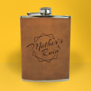 Mother's Ruin Engraved Hip Flask - Brown