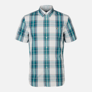 Lacoste Men's Short Sleeve Check Shirt - Green Navy/White