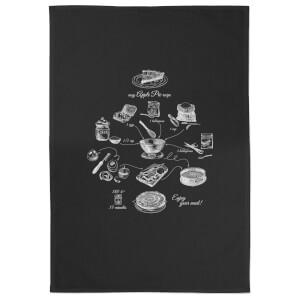 Apple Pie Recipe Cotton Black Tea Towel