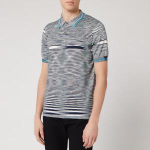 Missoni Men's Boston Rasato Fiammato Knitted Polo Shirt - Blue/Multi