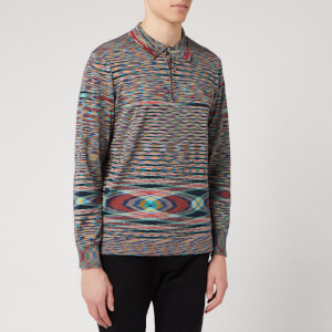 Missoni Men's Boston Rasato Fiammato Knitted Polo Shirt - Blue/Multi