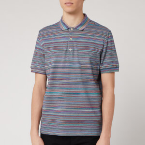 Missoni Men's Piquet Fiammato All Over Polo Shirt - Blue/Green
