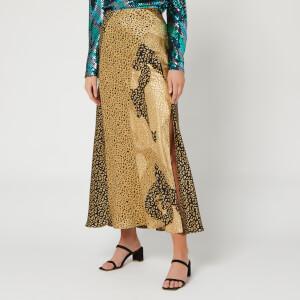 RIXO Women's Parker Skirt - Gold Patchwork Leopard Mix