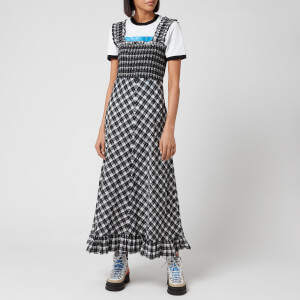 Ganni Women's Seersucker Check Midi Dress - Black