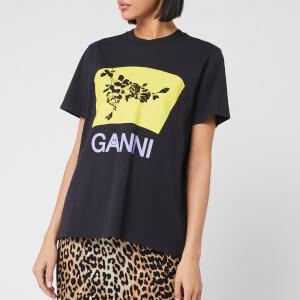 Ganni Women's Floral Graphic Print T-Shirt - Phantom