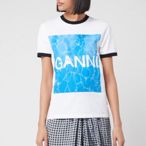 Ganni Women's Logo Graphic Print T-Shirt - White