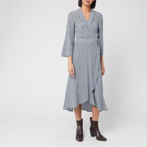 Ganni Women's Checked Printed Crepe Wrap Dress - Brunnera Blue