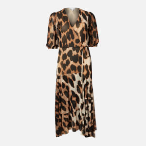 Ganni Women's Printed Mesh Wrap Dress - Maxi Leopard