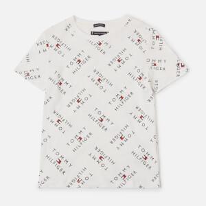 Tommy Kids Boys' All Over Logo T-Shirt - White