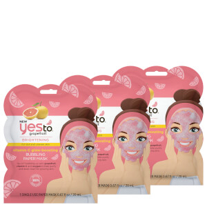 yes to Grapefruit Vitamin C Glow-Boosting Bubbling Paper Single Use Mask (Pack of 3)