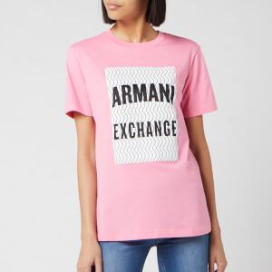 Armani Exchange Women's Large Boxed Logo Short Sleeve T-Shirt - Pink