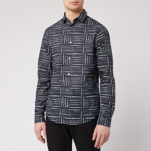 Emporio Armani Men's All Over Print Shirt - Blue