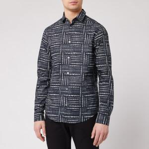 Emporio Armani Men's All Over Print Shirt - Blue