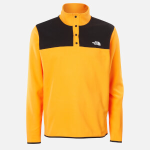The North Face Men's Tka Glacier Snap Neck Pullover Jumper - Flame Orange/TNF Black