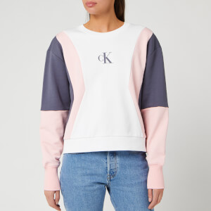 Calvin Klein Jeans Women's Colour Block Crew Neck Sweatshirt - Bright White/Pink/Abstract Grey
