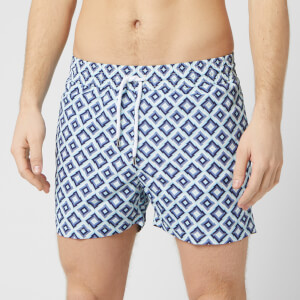 Frescobol Carioca Men's Pangra Sports Swim Shorts - Navy/Sky Blue