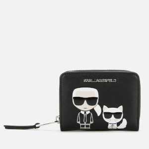 Karl Lagerfeld Women's K/Ikonik Small Folded Zip Wallet - Black