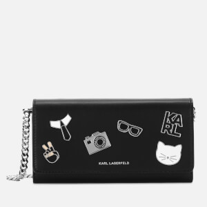 Karl Lagerfeld Women's K/Studio Leather Wallet On Chain - Black Multi