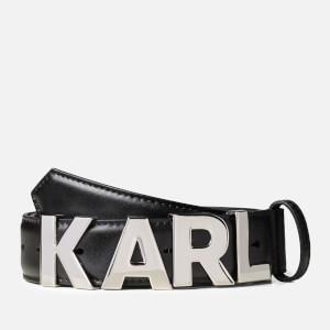 Karl Lagerfeld Women's K/Karl Metal Letters Belt - Black