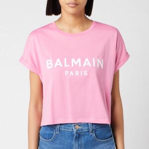 Balmain Women's Cropped Short Sleeve Logo T-Shirt - Rose/Blanc
