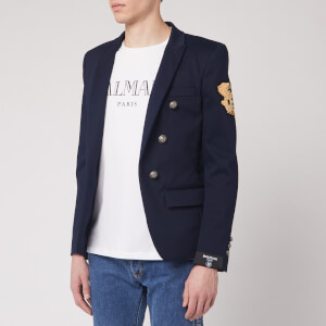 Balmain Men's 6 Button Unlined Cotton Jacket W/ Badge - Navy