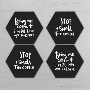 Bring Me Coffee Hexagonal Coaster Set