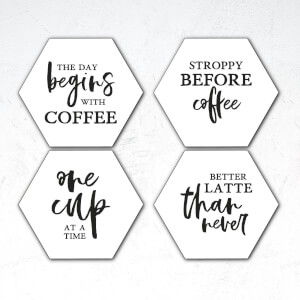 The Day Begins With Coffee Hexagonal Coaster Set