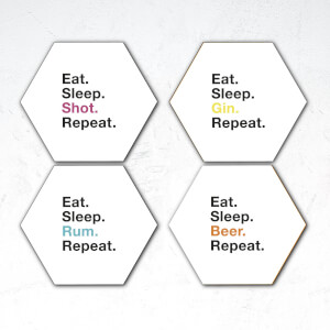 Eat. Sleep. Shot. Repeat. Hexagonal Coaster Set