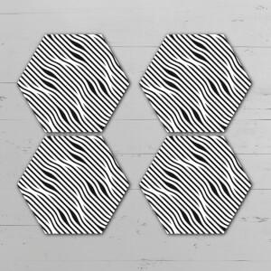 Black And White Wavy Lines Hexagonal Coaster Set