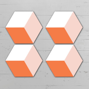 Orange Squares Hexagonal Coaster Set