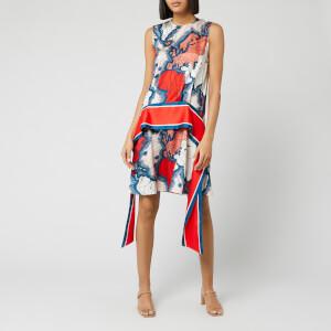 Victoria, Victoria Beckham Women's Map Print Scarf Dress - Red/Multi