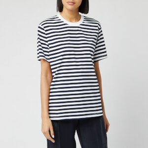 Victoria, Victoria Beckham Women's Striped Logo Tape T-Shirt - Midnight Blue/ Ivory
