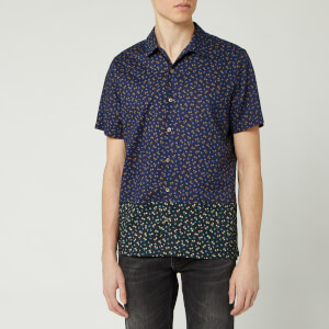 PS Paul Smith Men's Printed Casual Short Sleeve Shirt - Dark Navy