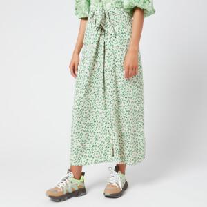 Ganni Women's Printed Crepe Wrap Midi Skirt - Tapioca