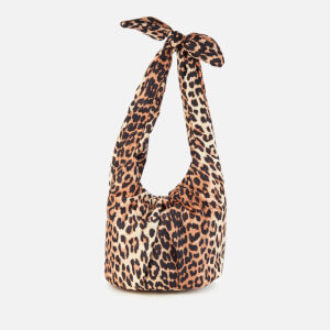 Ganni Women's Padded Tie Shoulder Bag - Leopard