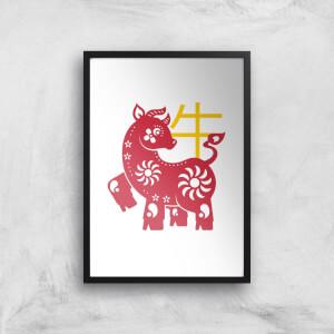 Chinese Zodiac Ox Giclee Art Print