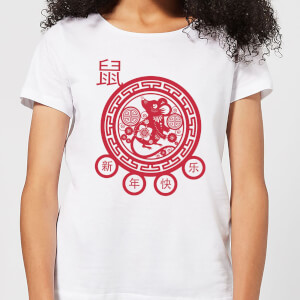 Year Of The Rat Decorative Cut Out Red Women's T-Shirt - White