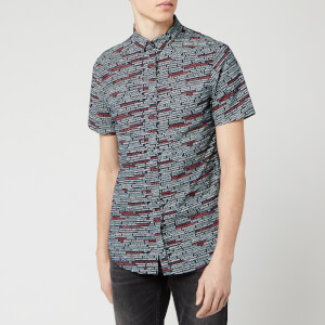 Armani Exchange Men's All Over Print Short Sleeve Shirt - Micro Navy