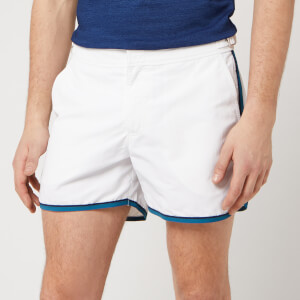Orlebar Brown Men's Setter Swim Shorts - White/Aquamarine