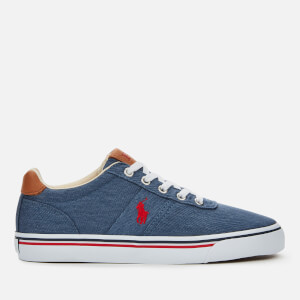 Polo Ralph Lauren Men's Hanford Washed Twill Low Top Trainers - Newport Navy/Red PP