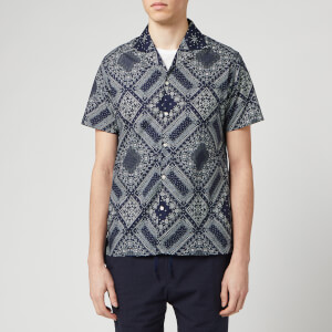 Officine Generale Men's Dario Bandana Print Shirt - Navy/White