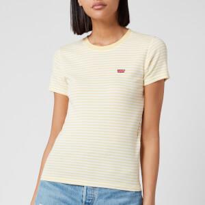 Levi's Women's Short Sleeve Rib Baby T-Shirt - Aya Stripe Pale Banana