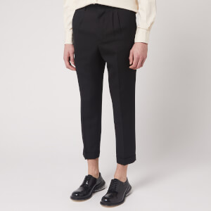 AMI Men's Wool Pleated Carrot Fit Trousers - Noir