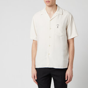 AMI Men's De Coeur Camp Collar Short Sleeve Shirt - Off White
